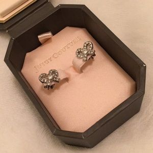 Juicy Couture Pave Bow Silver Stud Earrings